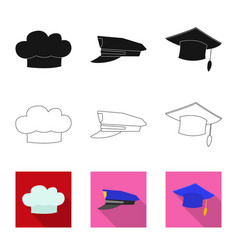 Isolated object of headgear and cap symbol set of vector