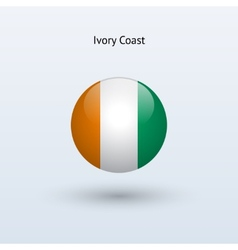 Ivory coast round flag vector