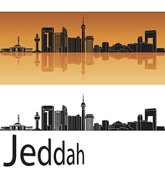 Jeddah skyline in orange background vector
