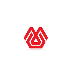 m initial shape line company logo vector image