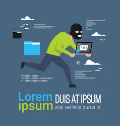 Man in black mask tapped laptop run away hacker vector