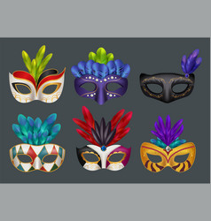 masquerade masks realistic masked fashion party vector image