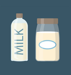 Milk dairy product in bottles vector