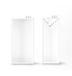milk or juice package mockup white carton box vector image
