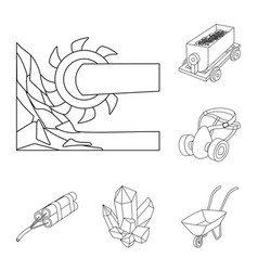 mining industry outline icons in set collection vector image