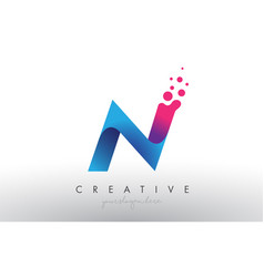 N letter design with creative dots bubble circles vector