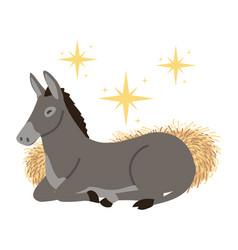Nativity manger donkey animal cartoon vector