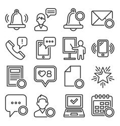 notification icons set on white background line vector image