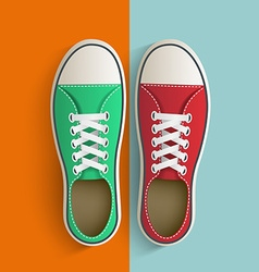 Old vintage sneakers vector