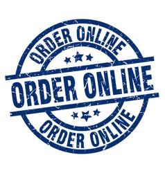 Order online blue round grunge stamp vector