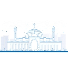 Outline al fateh grand mosque in manama vector