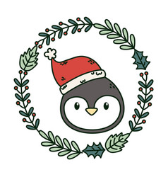 penguin head wreath decoration celebration merry vector image