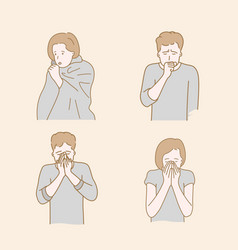 People cough because cold autumn or winter vector
