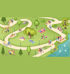 people in city park family rest leisure activity vector image