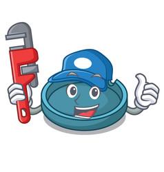 Plumber ashtray mascot cartoon style vector