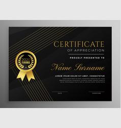Premium black certificate template with golden vector