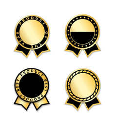 ribbons award best product of year set gold vector image