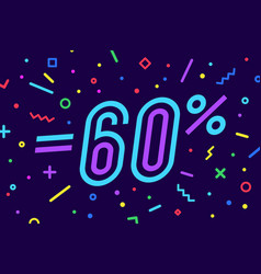 sale -60 percent banner for discount sale vector image