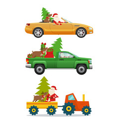 santa claus in different kinds of modern transport vector image