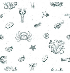 seafood seamless pattern for restaurants vector image