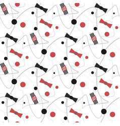 seamless black and red bow dot pattern with vector image