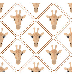 seamless pattern with giraffes rhombuses on white vector image