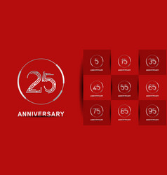 Set anniversary logotype with abstract silver vector