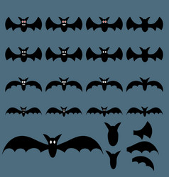 set halloween flying bats for design web vector image