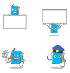 Set of blue book character with megaphone police vector