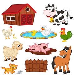 Set of isolated farm animals vector