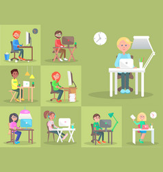 Set of people at computer in office cartoon style vector