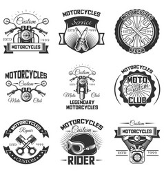 set vintage motorcycle emblems labels vector image