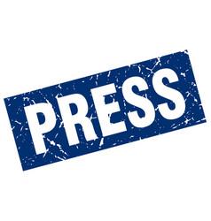 Square grunge blue press stamp vector