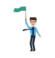Successful businessman standing with green flag vector