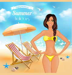 Summer holidays realistic poster vector