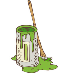 Tin can of green paint and paintbrush vector
