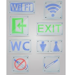 Transparent signs for public places on the plate vector