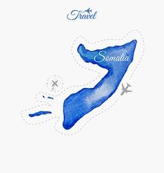 Travel around the world somalia watercolor map vector
