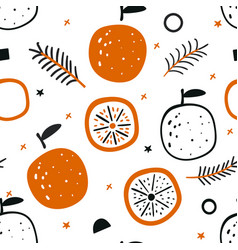 tropical seamless pattern with red oranges fruit vector image