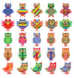 Twenty five amusing colorful owls vector