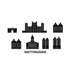 United kingdom nottingham flat travel skyline set vector