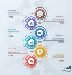 Vertical timeline infographic template with gears vector