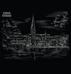 view on church of st mary in lubeck black vector image