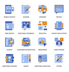 web survey icons set in flat style vector image