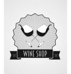 Wine shop abstract logo template with two glasses vector image