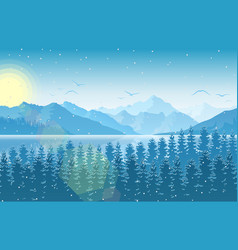winter morning in mountain landscape with forest a vector image