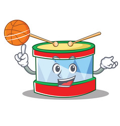 With basketball toy drum character cartoon vector