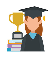 woman student graduated with trophy and books vector image