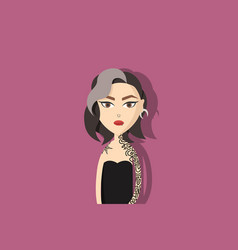 Woman with tattoos piercings and white hair vector