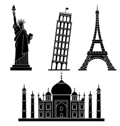 world landmarks statue liberty eiffel tower vector image